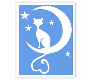 Трафарет для тату и мехенди хной Кошка № 23