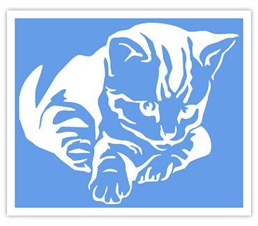 Трафарет для тату и мехенди хной Кошка № 25