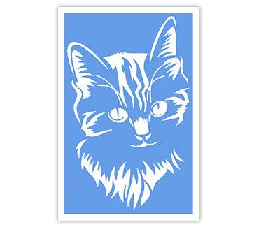 Трафарет для тату и мехенди хной Кошка № 26