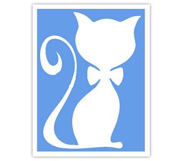 Трафарет для тату и мехенди хной Кошка № 33