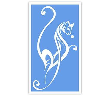Трафарет для тату и мехенди хной Кошка № 8