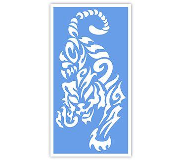 трафарет для тату и мехенди Тигры и Львы № 9