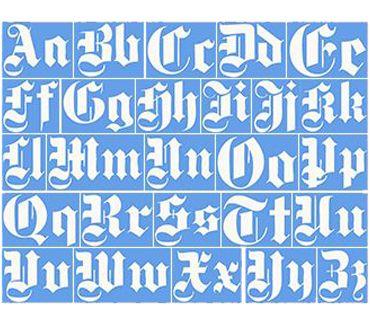 трафарет для тату и мехенди Английский готический шрифт